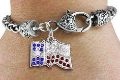 Texas Pride - Silver Bracelet w Austrian Crystal Silver Charm & Lobster Clasp