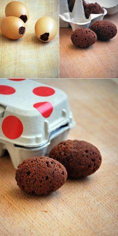 Utiliza cascarones de huevo como moldes para hacer brownies./ Use emptied egg shells as molds to bake egg shaped brownies!