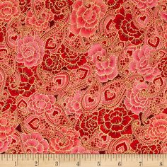 Sweet Heart Metallics Floral Paisley Rose from @fabricdotcom  Designed by Peggy Toole for Robert Kaufman Fabrics, this cotton print fabric is perfect for quilting, apparel and home decor accents. Colors include red and pink with metallic gold accents.