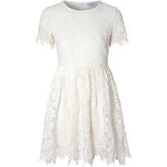 White Lace Skater Dress ($71) ❤ liked on Polyvore featuring dresses, vestidos, short dresses, tops, white, lace sleeve dress, white floral dress, long-sleeve mini dress, white summer dresses and white mini dress