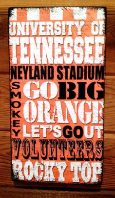 Tennessee Volunteers Football Wood Sign