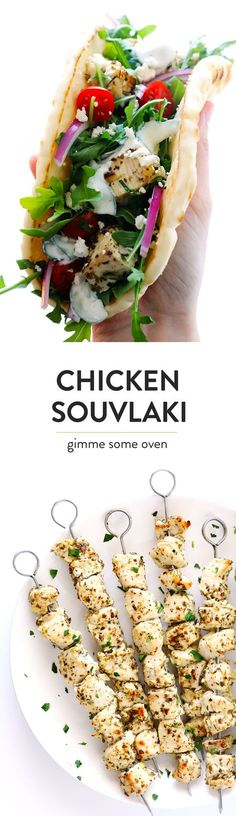 LOVE this recipe!! Greek Chicken Souvlaki is quick and easy to make with a lemon marinade, and perfect when loaded up in a pita with lots of arugula, tomatoes, red onions, feta cheese and tzatziki sauce. | gimmesomeoven.com