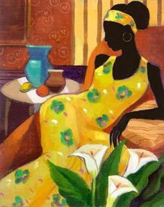 Woman with Blue Vase is a giclee on canvas fine art print in an edition of This beautiful print was created using the finest archival inks. Mounted on stretcher bars, it has been enhanced by the artist using acrylic paint. Woman with blue vase inches. Black Girl Art, Black Women Art, Black Art, African American Art, African Art, Illustrations, Illustration Art, Caribbean Art, Art Africain