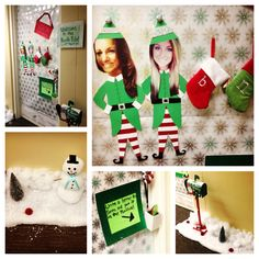 I just like the idea of turning people into elves...Christmas Decoration for College Dorm Door