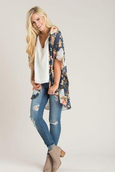 cb330a434bed6 This gorgeous navy floral kimono is the perfect transition piece from Summer  to Fall! We