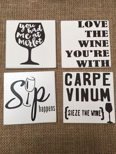Wine Quote Coasters by LilBitofThisGifts on Etsy