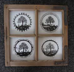Vier Jahreszeiten rund Papercutting, Silhouette Projects, Crafty, Patterns, Frame, Home Decor, Art, Drawings, Four Seasons