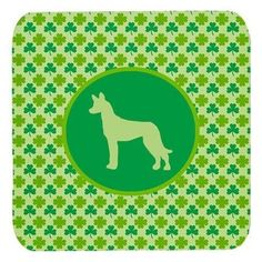 Set of 4 Pharaoh Hound Lucky Shamrock Foam Coasters, Multi