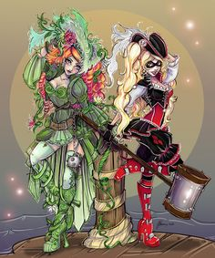 Cosplay Cat Woman Steampunk Harley Quinn, Poison Ivy, Joker, and Cat Woman. Joker Und Harley Quinn, Harley Quinn Cosplay, Harley Costume, Maquillage Harley Quinn, January Art, Poison Ivy Cosplay, Gotham Girls, Gotham Batman, Batman Art