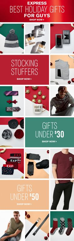 The best gift for every guy on your list is at Express. From stocking stuffers under $30 like ties, gloves and socks for men, to gifts under $50 like sweaters and jeans for men, you'll find something for everyone who made the nice list.