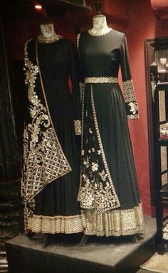 Black and Golden hand work with sequins. Your sparkles and this outfit will make a great combo! To get this made to measure and in your favourite colors visit www. Pakistani Couture, Indian Couture, Pakistani Outfits, Indian Outfits, India Fashion, Ethnic Fashion, Asian Fashion, Indian Look, Indian Ethnic Wear