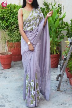 Buy Lavender Grey Pure Silk Floral Ribbon Handwork Saree - Sarees Online in India Saree Blouse Neck Designs, Saree Blouse Patterns, Fancy Blouse Designs, Trendy Sarees, Stylish Sarees, Chiffon Saree, Silk Sarees, Saris, Silk Chiffon