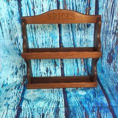 Vintage Wooden Two Tier Spice Rack, kitchen decor, spice storage, kitchen storage, creative storage, kitchen shelf, wood shelf, spice shelf by TheDustyWingVintage on Etsy