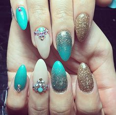 Gold and teal glitter nails art girly love design mermaid look