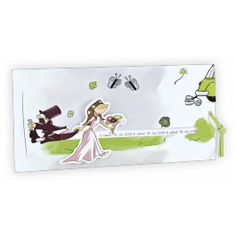 Faire-part mariage personnages Régalb : Pochette mariée tirant son époux Marie, Wedding Invitations, Baby, Green Ribbon, Future Husband, Characters, Wedding Invitation Cards, Babies, Infant