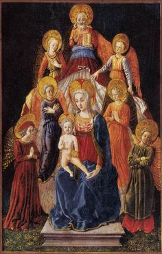 [Renaissance] Master Of Pratovecchio Madonna and Child with Six Angels