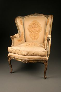 Late 19th century French Louis XV style wing back armchair with polychrome finish, circa 1880. #antique #chairs