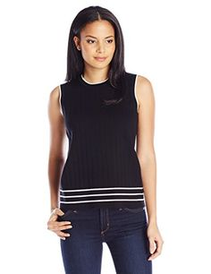 Pendleton Womens Tipped Shell Sweater BlackIvory Small >>> Click on the image for additional details.