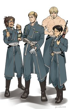 """thebritishteapot: """" Like every tv show I'm obsessed with, SNK also had to go through my personal rite of passage and be crossed over with Fullmetal Alchemist. I don't know what to say about this. I..."""