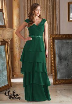 6861be6378af Φόρεμα Chiffon Μακρύ με Ζώνη Κεντημένη με Κρύσταλλα. Κωδ. 71420