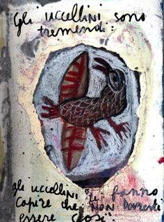 """Gli uccellini sono tremendi"", mixed media on paper, 2004, Giuseppe Ragazzini #collage #giusepperagazzini #collageart #bird #mixedmedia #naif"