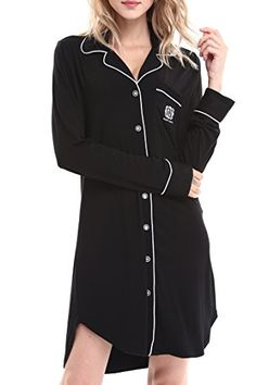 Women's Sleepwear - Women Long Sleeve Pajama Top Buttom Down Sleep Shirt Dress by Nora TwipsXSXL -- Check this awesome product by going to the link at the image. (This is an Amazon affiliate link)