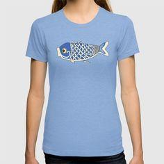 #tshirt #koi #fish #design #blue now available @society6 https://society6.com/product/koi-blue-qcq_t-shirt