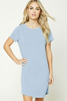 Forever 21 Contemporary - A knit t-shirt dress featuring a mini length, shift silhouette, a round neckline, and short sleeves.