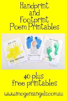 Kids and Painting ~ Handprint and Footprint Poem Printable Bonanza, I love the Father's Day. The hand you used to hold when I was ____. Daycare Crafts, Baby Crafts, Toddler Crafts, Crafts To Do, Preschool Crafts, Toddler Activities, Crafts For Kids, Infant Crafts, Kids Diy