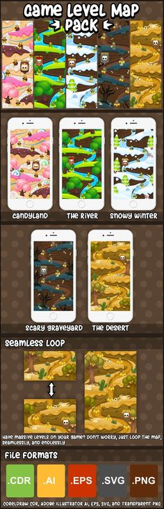 Game Level Maps Pack - Illustrations  Like  Save Game Level Maps Pack - Illustrations - 1 Game Level Maps Pack - Illustrations - 2 Game Level Maps Pack - Illustrations - 3 Game Level Maps Pack - Illustrations - 4 Build level map for your casual and puzzle games with this level map pack. This contains 5 different themes, from candy land, scary graveyard, to desert theme. #2d #game #assets #level #map
