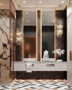 Modern Luxury Bathroom, Bathroom Design Luxury, Modern Bathroom Design, Modern House Design, Modern Bathrooms, Home Room Design, Home Interior Design, Washroom Design, Home Entrance Decor