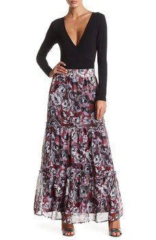 Melrose and Market - Printed Tiered Maxi Skirt
