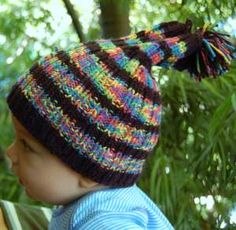 Reversible Baby Hat in Bunny Hop - free knitting pattern for baby hat - Crystal Palace Yarns