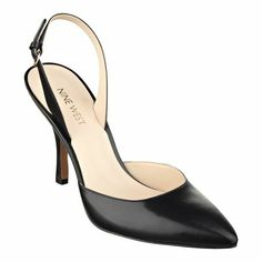 Discover the undisputed beauty that lies in simplicity. The high heel and foot-flattering almond toe take the style from office to cocktails with ease. Padded footbed for all-day comfort. Leather upper. Man-made lining and sole. Imported. 3 1/2 inch heels. Women's shoes. Slingback high heels.