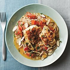 Spanish-Style Cod in Tomato Broth | MyRecipes.com - omit wine and replace with more broth and use brown rice.