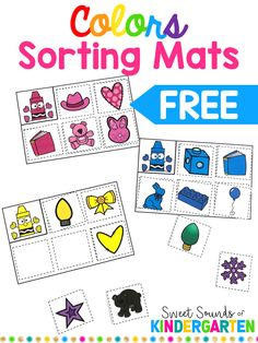My students LOVE any kind of COLORFUL games and puzzles. In the beginning of the school year, we work a lot on colors and sorting. These sorting mats are a perfect way to help students practice rec… Preschool Color Activities, Sorting Activities, Preschool Printables, Classroom Activities, Kindergarten Activities, Preschool Activities, Classroom Setup, Sorting Kindergarten, Kindergarten Colors