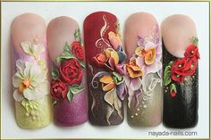 3D nail art beautiful flowers