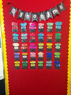 Synonym Wall in my Classroom Reveal 2014-15: Polka Dots, Chevron and Owls, Oh My! Fancy Free in 4th
