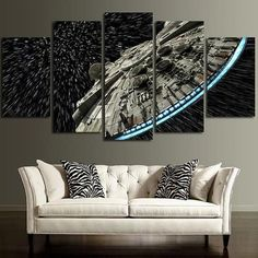 Star Wars Millennium Falcon Wall Art Painting  - Decorating your home with Star Wars Canvas Painting. #starwars #canvaspainting #art #decor #painting @ https://starwargift.com/star-wars-canvas-painting/