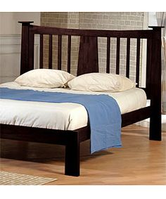 @Overstock.com - Milton Chestnut Queen-size Bed - Sleep in style on this beautiful wooden queen-size bed from Milton. The bed features a solid wood frame for strength, tastefully finished in a rich chestnut color. The design includes a slat-bottom construction for mattress-only use.  http://www.overstock.com/Home-Garden/Milton-Chestnut-Queen-size-Bed/1440385/product.html?CID=214117 $389.99