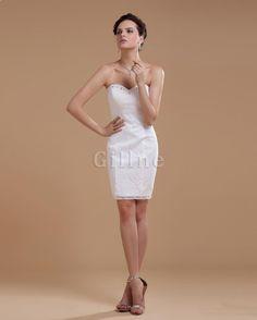 Robe de mariée naturel bustier de bijouterie appliques avec zip de longueur à genou
