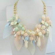 Necklace Plastic Colored Flower & Metal