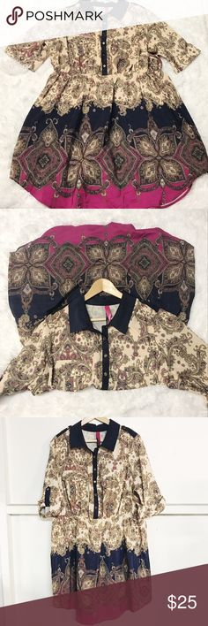 Large Paisley print color block dress Good condition  Beige, Navy and pink  Sheer material not see through  Small stain by top right pocket (blends in with design).  Gold button details  Stretchy waist: 18 inch at the waist laying flat without stretch.  May also fit a XL. Please look at pictures for details and measurements. Pure Energy Dresses Mini