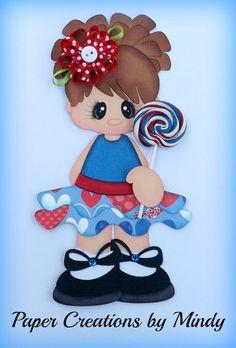 lollipop girl kids summer premade paper piecing scrapbooking page album ~paper creations by mindy Scrapbook Patterns, Scrapbook Embellishments, Foam Crafts, Paper Crafts, Art For Kids, Crafts For Kids, Scrapbook Paper, Scrapbooking, Merian