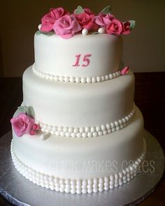 """Quinceañera cake - this hispanic """"rite of passage"""" for a young lady turning 15 has some fun ideas.  Arrive at party in flats, Dad (like the prince in Cinderella) provides some heels and leads her in a dance.  A great time to celebrate!"""