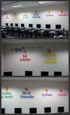 Elementary Library- love the Big 6 on the wall. cool idea.