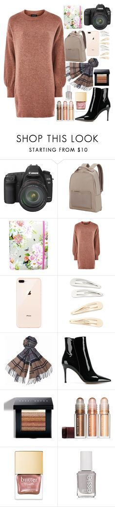 """""""Stylicious"""" by skates03 ❤ liked on Polyvore featuring Canon, Samsonite, Accessorize, Topshop, Kitsch, Barbour, Gianvito Rossi, Bobbi Brown Cosmetics and Essie"""