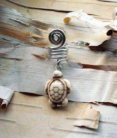 White Bone Colored Turtle Stone Silver Dread Charm Dreadlock Accessory Extension Accessories Dread Boho Bohemian Hippie Bead