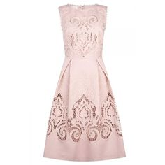 Zara Lace Dress With Flared Skirt Wedding Guest Dresses 100 Beautiful... ❤ liked on Polyvore featuring dresses