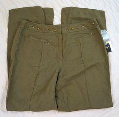 Peter Nygard Studded Linen Olive Green Womens Pants Size 10P NWT (Q5#629) #PeterNygard #Linen